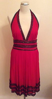 Brand New Marcelane Red & Black Bead & Sequinned Silk Halterneck Dress Size 12 - Whispers Dress Agency - Womens Eveningwear - 1