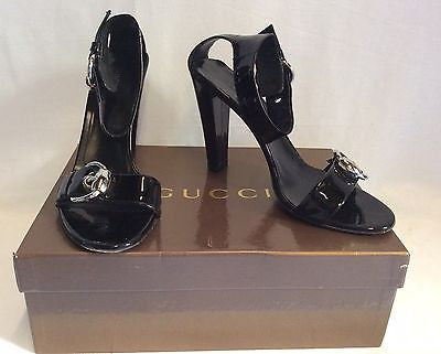 Gucci Black Patent Buckle Trim Strap Heeled Sandals Size 7/40.5 - Whispers Dress Agency - Sold - 1