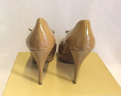 Dolce & Gabbana Camel Patent Leather Peeptoe Heels Size 5.5/38.5 - Whispers Dress Agency - Womens Heels - 4