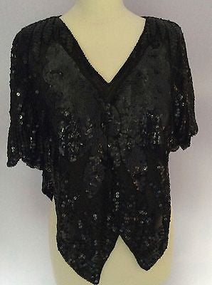 Pure Silk Black Sequinned Butterfly Design Top One Size - Whispers Dress Agency - Sold - 1