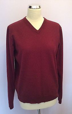 Jaeger Burgundy Wool V Neck Jumper Size L - Whispers Dress Agency - Sold - 1