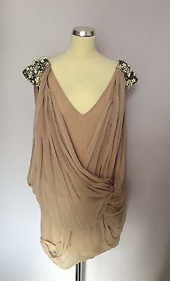FRENCH CONNECTION NUDE BEADED & SEQUIN TRIM DRAPED SILK TOP SIZE 12 - Whispers Dress Agency - Womens Tops - 1