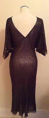 Beautiful Brown Sequinned V Neckline Silk Dress Size 12 - Whispers Dress Agency - Womens Eveningwear - 3