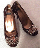 Bertie Brown & Gold Beaded Suede Heeled Court Shoes Size 5/38 - Whispers Dress Agency - Sold - 1