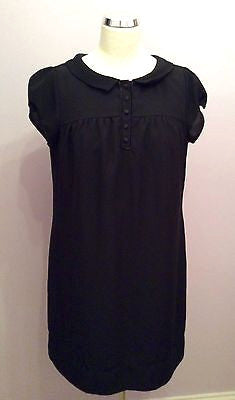 Marks & Spencer Autograph Black Button Front Cap Sleeve Shift Dress Size 16 - Whispers Dress Agency - Womens Dresses - 1