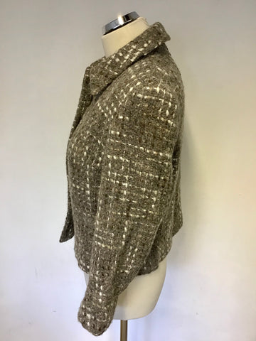 JAEGER BROWN SHADES & IVORY WEAVE WOOL,APACA & MOHAIR JACKET SIZE 14