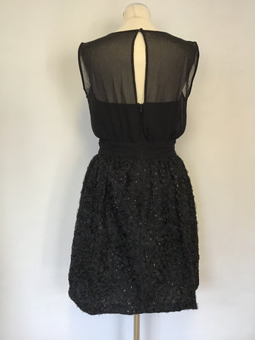 FRENCH CONNECTION BLACK BONED BODICE APPLIQUÉ & SEQUIN TRIM SPECIAL OCCASION DRESS SIZE 12