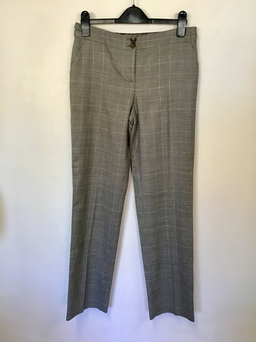 BRAND NEW TED BAKER GREY PRINCE OF WALES CHECK WAISTCOAT & TROUSER SUIT SIZE 1 UK 10