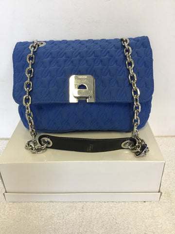 JAEGER BLUE EMBOSSED STITCHED FABRIC & SILVER CHAIN STRAP SHOULDER BAG