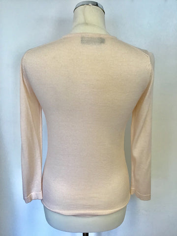 HOBBS PALE PINK SILK & COTTON 3/4 SLEEVE CARDIGAN SIZE 10