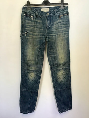 KAREN MILLEN BLUE DISTRESSED LOOK ZIP TRIM JEANS SIZE 8
