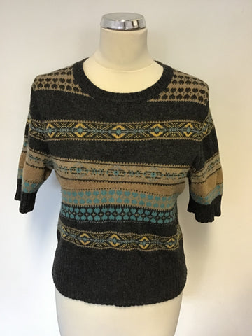 HOBBS NW3 DARK GREY,FAWN & TURQUOISE WOOL BLEND SHORT SLEEVE JUMPER SOZE 12
