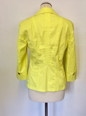 BETTY BARCLAY COLLECTION BRIGHT YELLOW COTTON FITTED JACKET SIZE 12