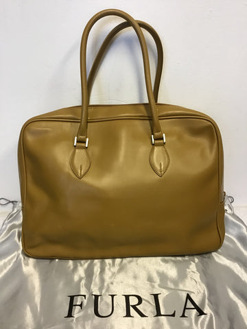 FURLA CAMEL LEATHER TOTE BAG WITH SHOULDER STRAP