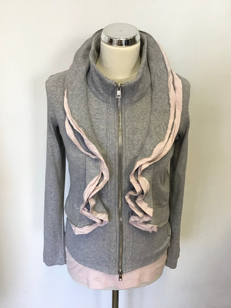 MARCCAIN GREY & PINK TRIM FRILL ZIP UP TOP & MATCHING VEST TOP SIZE 4 UK 14