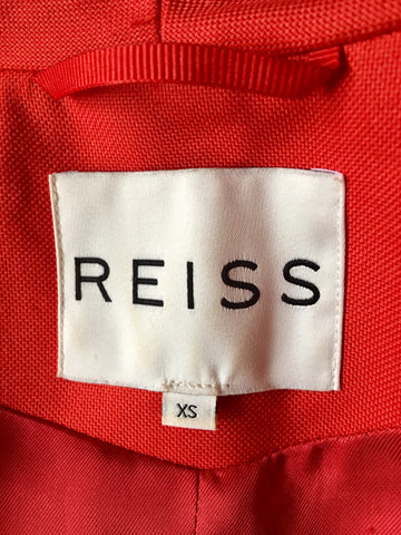 REISS RED HIGH NECK FITTED JACKET SIZE XS