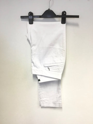 RALPH LAUREN WHITE COTTON SLIM LEG TROUSERS SIZE 4 UK 8