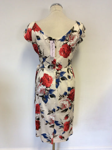 BRAND NEW THE PRETTY DRESS COMPANY CARMEN FLORAL PRINT HOURGLASS PENCIL DRESS SIZE 12