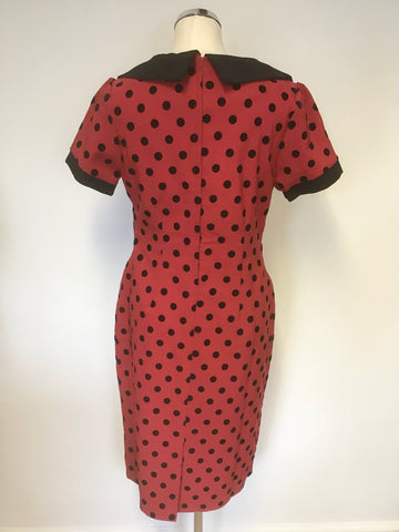 BRAND NEW COLLECTIF RED & BLACK SPOT SHORT SLEEVE PENCIL DRESS SIZE 16