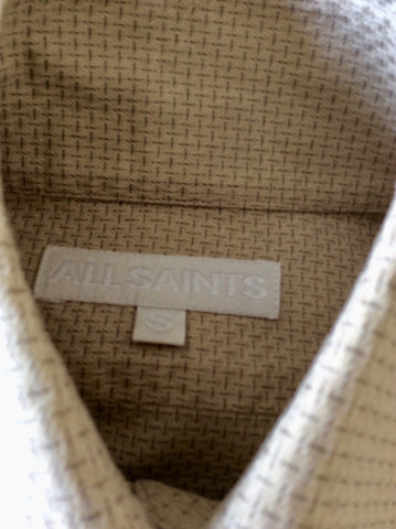 ALL SAINTS BEIGE COTTON PRINT SHIRT SIZE S