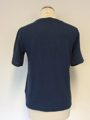 JIGSAW PETROL BLUE SILK TRIM SHORT SLEEVE TOP SIZE S