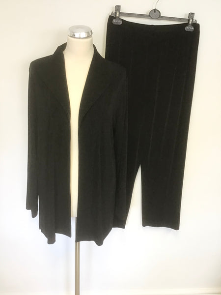 CHICO'S TRAVELERS BLACK STRETCH JACKET & TROUSER LEISURE SUIT SIZE 2 / M