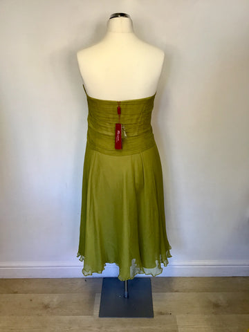 BRAND NEW MONSOON CHARTREUSE GREEN SILK STRAPPY/ STRAPLESS DRESS SIZE 20