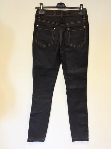 BRAND NEW KAREN MILLEN DARK DENIM SKINNY LEG JEANS WITH SIDE ZIP SIZE 8