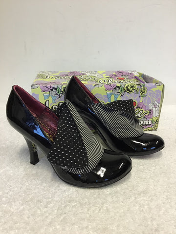 IRREGULAR CHOICE MUTINY BLACK PATENT LEATHER WITH COTTON PANEL TRIM HEELS SIZE 6/39
