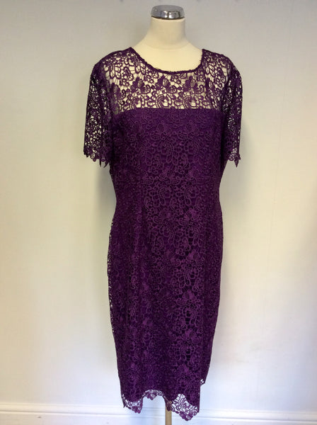 BRAND NEW GINA BACCONI PURPLE LACE SPECIAL OCCASION DRESS SIZE 20
