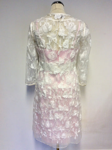 BRAND NEW DRESS CODE BY VEROMIA PINK LINED & SHEER WHITE EMBROIDERED OVERLAY DRESS & SHEER DUSTER COAT SIZE 16