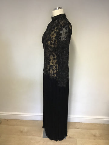 LORCAN MULLANY BY JACQUES VERT BLACK BEADED & SEQUINNED FRINGED EVENING DRESS SIZE 14