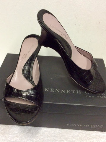 KENNETH COLE TAKE OFF BLACK LEATHER WEDGE HEEL MULES SIZE 5/38