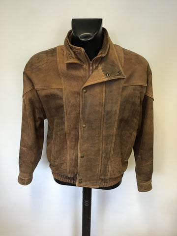 QUALITY BROWN ANTIQUE LOOK ZIP UP LEATHER JACKET SIZE L
