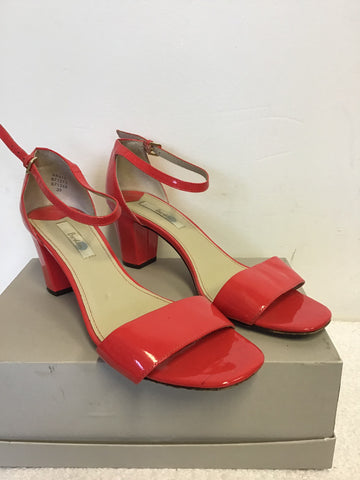 BODEN CORAL PATENT LEATHER BLOCK HEEL SANDALS SIZE 6/39