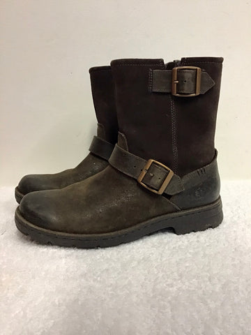 UGG MESSNER BROWN SUEDE & LEATHER BUCKLE TRIM WOOL LINED BIKER BOOTS SIZE 6/39.5
