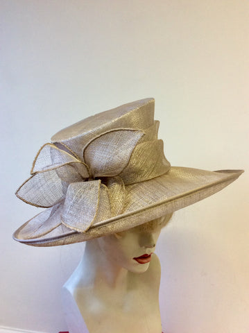 PRESEN OF BARCELONA OYSTER BEIGE BOW TRIM WIDE BRIM HAT
