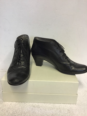GABOR BLACK LEATHER LACE UP SHOE BOOTS SIZE 6/39
