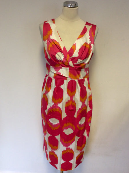 BODEN PINK,WHITE,ORANGE & CREAM PRINT COTTON DRESS SIZE 10L