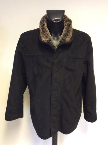 JAEGER BLACK SHEARLING JACKET SIZE M