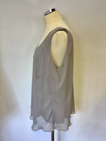 CHESCA LIGHT GREY SLEEVELESS TOP SIZE XL