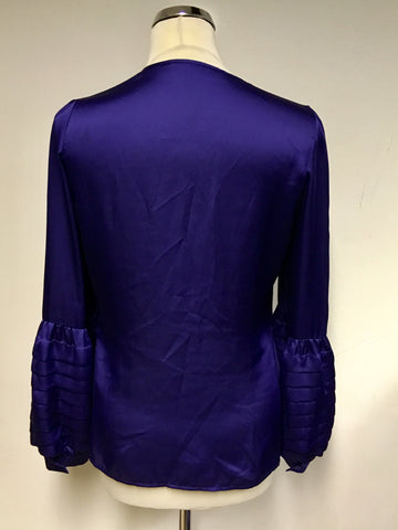 REISS MIDNIGHT BLUE PLEATED SLEEVE BLOUSE SIZE 10