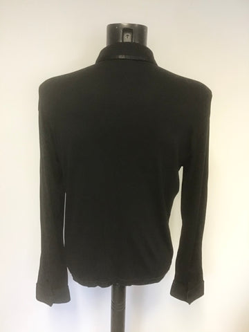ARMANI EXCHANGE BLACK COLLARED LONG SLEEVE POLO SHIRT SIZE L