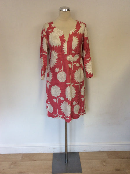 BODEN PINK & WHITE FLORAL PRINT LINEN 3/4 SLEEVE SUMMER DRESS SIZE 14