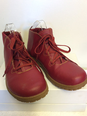BRAND NEW COTTON TRADERS RED LACE UP LEATHER BOOTS SIZE 5/38