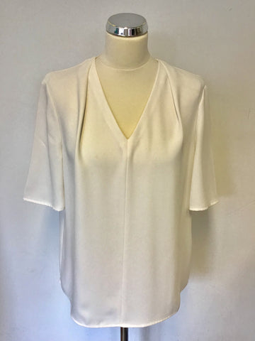 LK BENNETT ARLO CREAM V NECK SHORT SLEEVE TOP SIZE 14