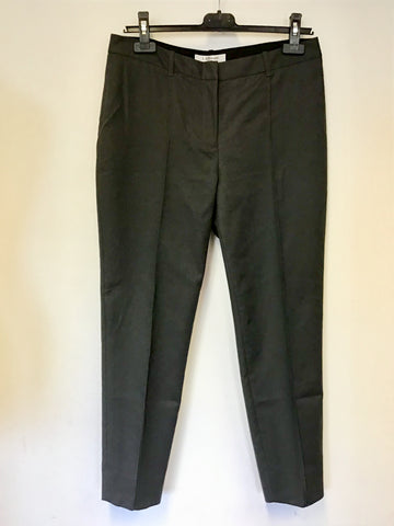 LK BENNETT LARIS DARK GREY COTTON ANKLE GRAZER TROUSERS SIZE 12