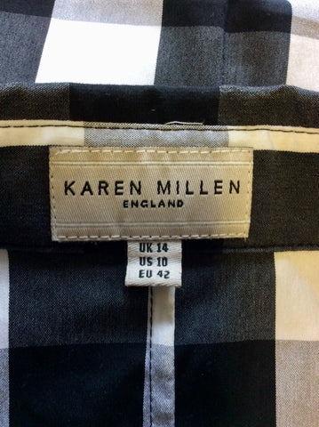 KAREN MILLEN BLACK,WHITE & GREY CHECK SLEEVELESS TOP SIZE 14