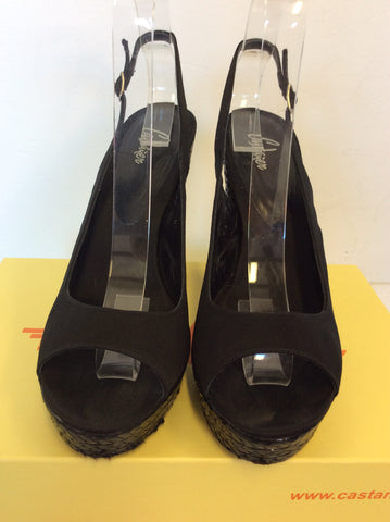 CASTANER BLACK SATIN & LEATHER PEEPTOE & SLINGBACK HEELS SIZE 7/41