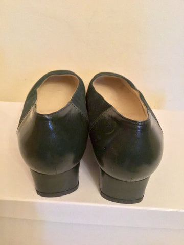 BRAND NEW HERZAG DARK GREEN SUEDE & LEATHER COURT SHOES SIZE 5/38